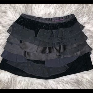 Girls special occasion layered velvet black skirt